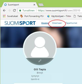 """1/7: OJK:n jäsenmaksu maksetaan SuomiSport profiilissa valinnalla """"Ostamaan""""."""